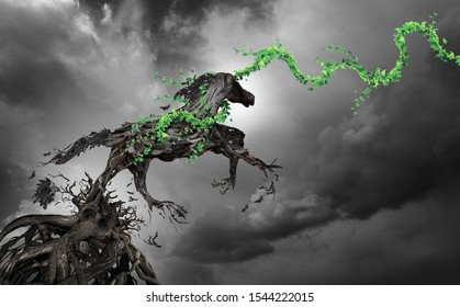 Concept of power and motivation as a surreal horse made of roots breaking free as an enironmental hope symbol in a 3D illustration style.