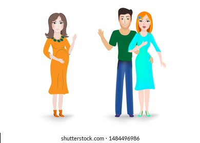 The concept of pregnancy planning, surrogacy. Illustration of a surrogate mother for a childless family couple on a white background. A pregnant woman is carrying a child for men and women in love.