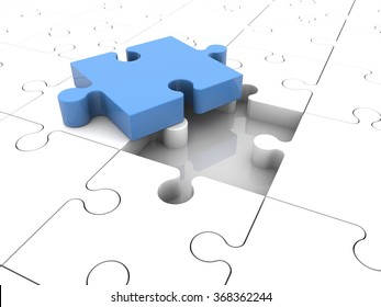 Concept with puzzle pieces in blue and white