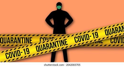 Concept of quarantine mode for the covid-19 coronavirus disease. Stop contamination and lockdown concept.Warning sign and stop quarantine warning.