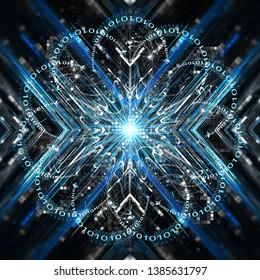 Concept of qubit, blue symmetry stripes