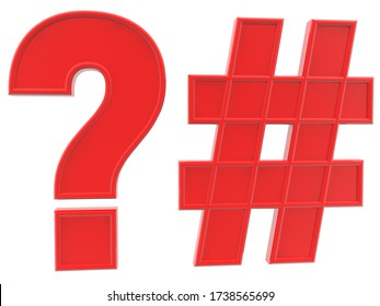 Concept of Question mark and hashtag in red.3d illustration