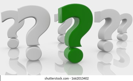 Concept of question marks in green and white.3d illustration