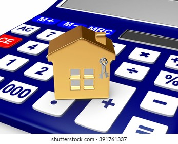 Concept of real estate. Model of house on a calculator isolated on white background