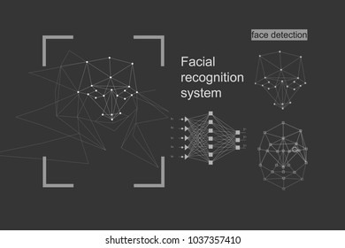 The concept of recognition. diagram of the grid and neural network algorithm. Gray background