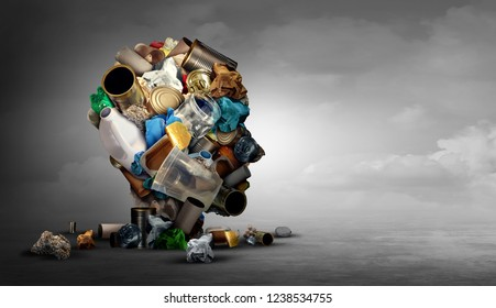 Concept of recycling and recycle idea as garbage waste shaped as a human head made of glass plastic and cardboard trash on a horizontal background in a 3D illustration style.