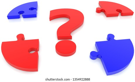 Concept of red question mark and puzzle in red and blue on white.3d illustration