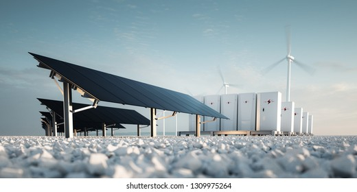 Concept of renewable energy storage Modern black photovoltacis, modular battery energy storage system and a wind turbine system in the background. 3d rendering.