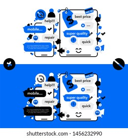 Concept Repair of mobile phones and Service electronic technic with abstract elements, icons and bubble chat. Illustration banner in modern style.