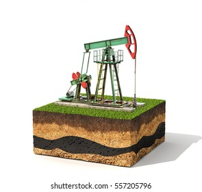 Concept of resources. Cross section of ground with pump jack isolated on white background, 3d illustration