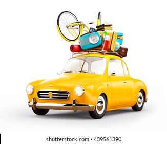 Concept retro car with luggage. Unusual creative travel 3d illustration. Isolated at white. Travel concept illustration