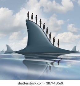 Concept of risk business metaphor as a group of courageous or unaware businesspeople standing on the dorsal fin of a giant shark as a symbol for overcoming company fear and guts to be fearless.