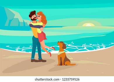 Concept of romantic relationships and marriage of disabled people isolated on white background. Boy holding blind girl in his arms. Love and dating in flat design. Rastered copy