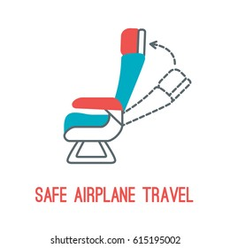 Concept of rules of airplane safety for banner design. Thin line icon of chair for safe travel isolated on white. Safe plane flight.