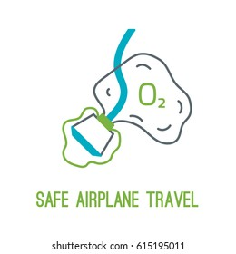 Concept of rules of airplane safety for banner design. Thin line icon of oxygen mask for safe travel isolated on white. Safe plane flight.