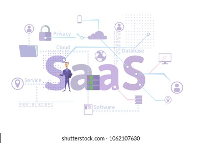 Concept of SaaS, software as a service. Cloud software on computers, mobile devices, codes, app server and database. Illustration in flat style, isolated on white background. Raster version.