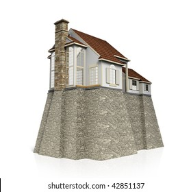 Concept safety house with big heavy foundation.