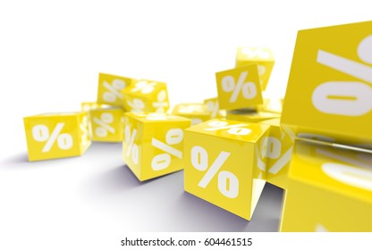 3 D Rendered Yellow Cubes Labeled Percent Stock Illustration