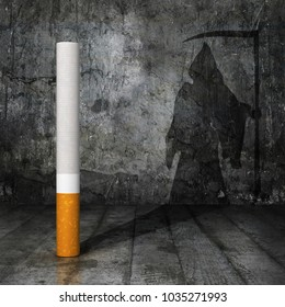 concept of self-destruction. The cigarette casts a shadow on the wall of the form of death, the dark room. 3d illustration