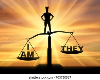 Concept of selfishness and narcissistic person. Silhouette of a man with a crown, standing on the scales of justice chooses his interests