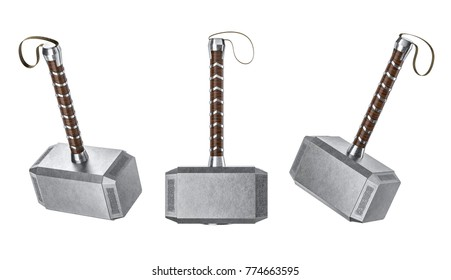 Concept Set hammer of Thor on a isolated background.3d render