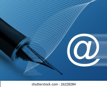 Concept showing email symbol overlaid over fountain pen