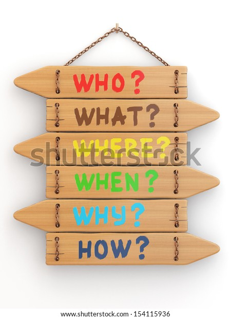 Concept. Signboards with questions on white isolated background. 3d