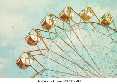 Concept, sketch Ferris Wheel over blue sky with clouds