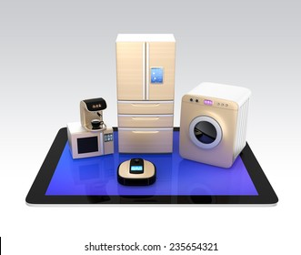 Concept of smart kitchen appliances control by tablet PC