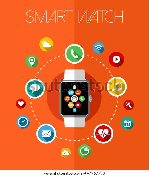 Concept smart watch device design in flat art style with app icons display and text.