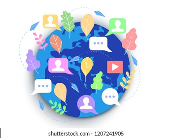 Concept social media, blogging, chat, for web page, banner, presentation, documents, cards, posters. illustration news social networks communication people are chatting online mobile