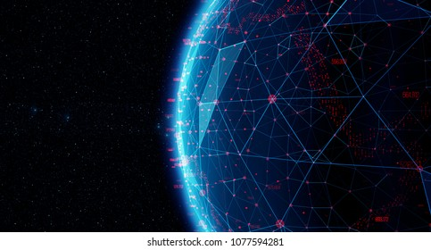 The concept of social network, uniting people around the globe. Connection lines Around Earth Globe, Futuristic Technology. Theme Background with Light Effect
