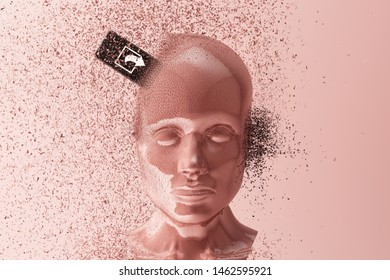 "Concept of ""social sharing Can make people die"" with human head broken by cellphone clashing. 3d rendering"
