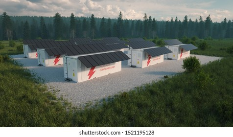Concept of solar container units situated in fresh nature with grass in foreground and forest in background. Late evening light. Aerial view. 3d illustration