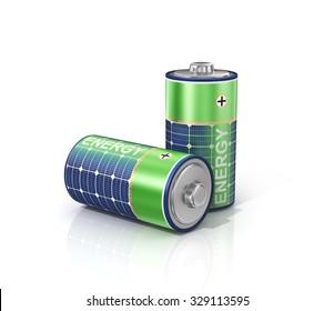 Concept of solar green energy. Solar Energy Batteries.