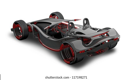 concept of sport car (roadster) isolated on white (No trademark. This car is my own design) High resolution 3d render