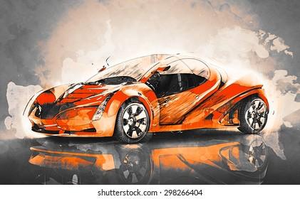 concept sport car sketch