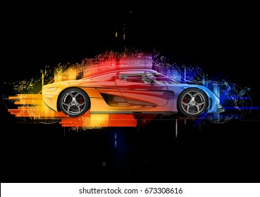Concept sports car - colorful abstract  3D Illustration