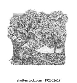 The concept of spring and bloom. Blossoming cherry tree, apple tree. In the style of pointillism.