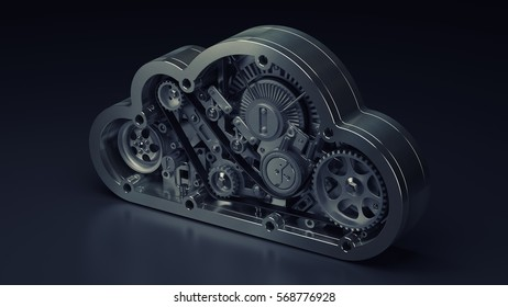 concept. steel cloud engine of car. High resolution 3d render
