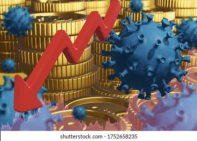 concept stock market fluctuations from virus outbreak epidemic coronavirus or covid 19 and financial,with circle gold coin stack dollar sign,red arrow and virus symbol 3D rendering illustration
