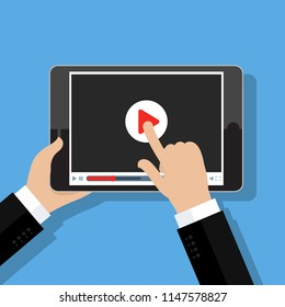 Concept of streaming, study and learning, distance education and knowledge growth. Online conference and webinar icons. Flat design,  illustration.