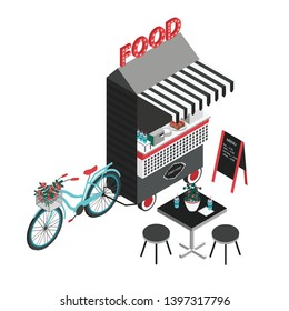 Concept of street food. Bicycle kiosk, foodtruck, portable cafe on wheels. Isometric illustration with fastfood point of sale, table and chairs. Top view.