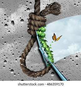 Concept of suicide prevention psychology therapy and psychiatrist or psychologist treatment as a wiper clearing a cloudy noose revealing bright future with 3D illustration elements.