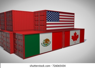Concept of superiority of USA in The North American Free Trade Agreement (NAFTA or TLCAN). Cargo containers with flag. 3D Rendering.