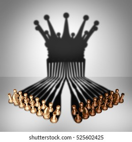 Concept of teamwork alliance and group leadership organization as two sets of chess pieces joining together as one in agreement to cast a shadow shaped as the crown of a king as a 3D illustration.