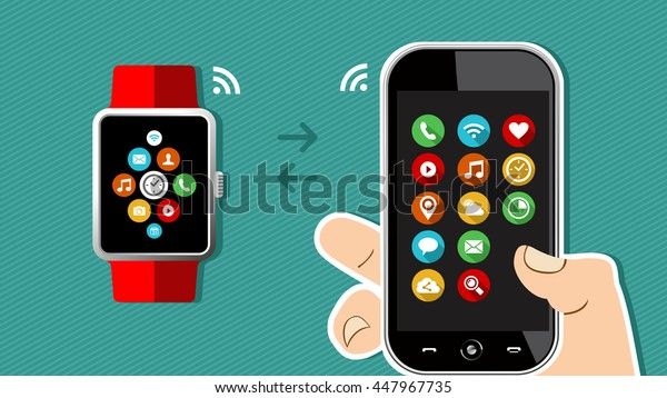 Concept technology illustration of human hand holding mobile phone with smart watch connection and app icons on screen.