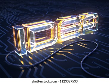 Concept Of The Text IDEA Made As An Electric Lamp On Printed Circuit Board. 3D Illustration.