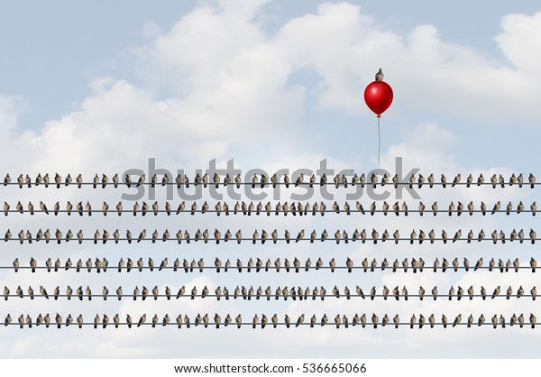 Concept to think different as a group of birds on a wire with an upward moving bird on a red balloon as a business success metaphor of thinking and game changer symbol with 3D illustration elements.
