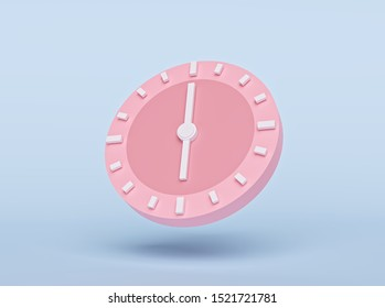 concept of time. analog clock on pastel blue background, modern minimal style for banner, flyer, poster or web site. 3d rendering